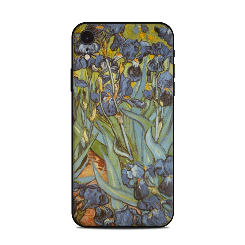 iPhone XR Skin design of Painting, Plant, Art, Flower, Iris, Modern art, Perennial plant with gray, green, black, red, blue colors