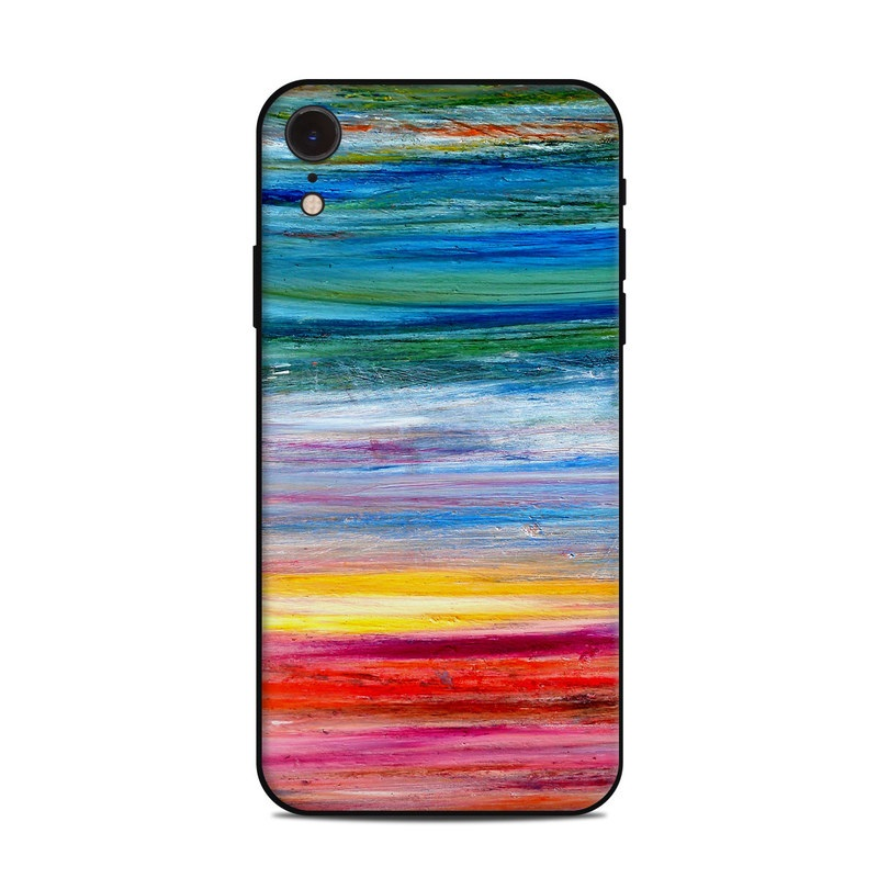 iPhone XR Skin design of Sky, Painting, Acrylic paint, Modern art, Watercolor paint, Art, Horizon, Paint, Visual arts, Wave with gray, blue, red, black, pink colors