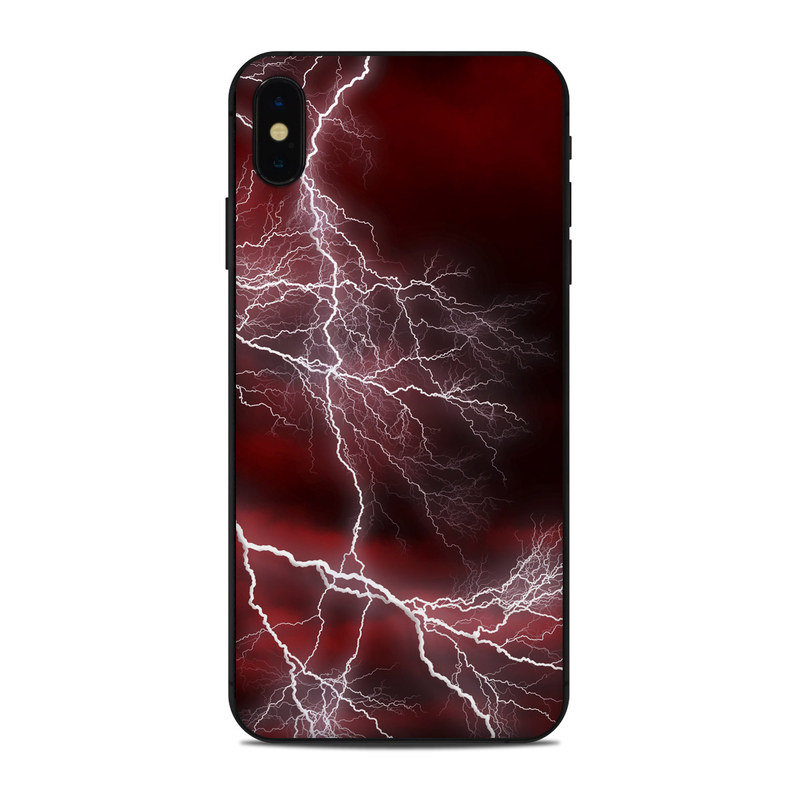iPhone XS Max Skin design of Thunder, Thunderstorm, Lightning, Red, Nature, Sky, Atmosphere, Geological phenomenon, Lighting, Atmospheric phenomenon with red, black, white colors
