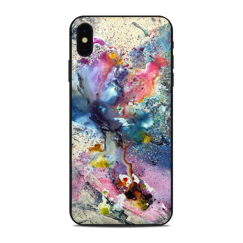 iPhone XS Max Skin design of Watercolor paint, Painting, Acrylic paint, Art, Modern art, Paint, Visual arts, Space, Colorfulness, Illustration with gray, black, blue, red, pink colors