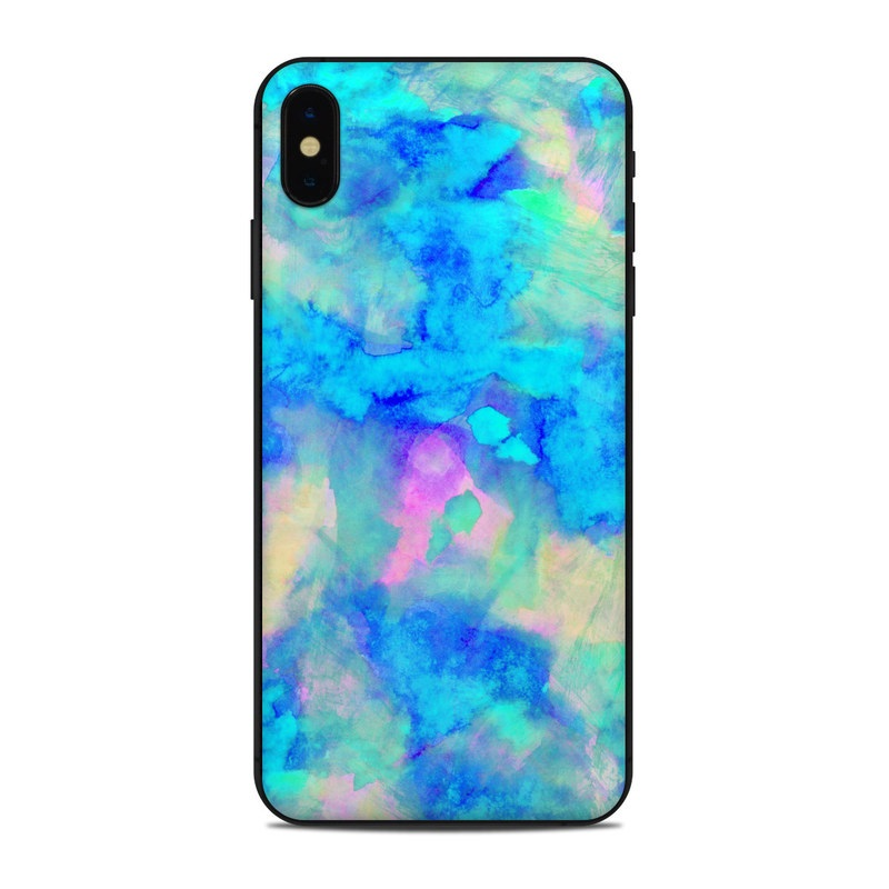 iPhone XS Max Skin design of Blue, Turquoise, Aqua, Pattern, Dye, Design, Sky, Electric blue, Art, Watercolor paint with blue, purple colors