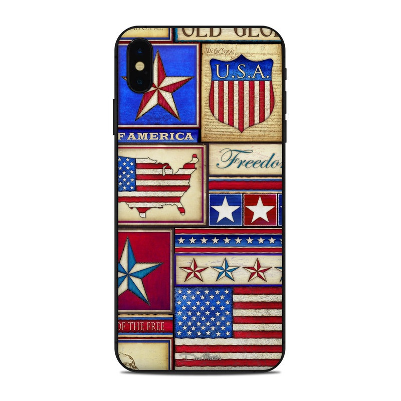 iPhone XS Max Skin design of Flag, Pattern, Flag of the united states, Flag Day (USA), Games with red, gray, blue, black, pink, green colors