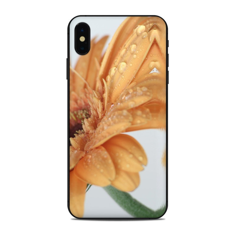 iPhone XS Max Skin design of Water, Gerbera, Yellow, Petal, Close-up, Moisture, Macro photography, Drop, Flower, Peach with green, gray, pink, red, orange, purple colors