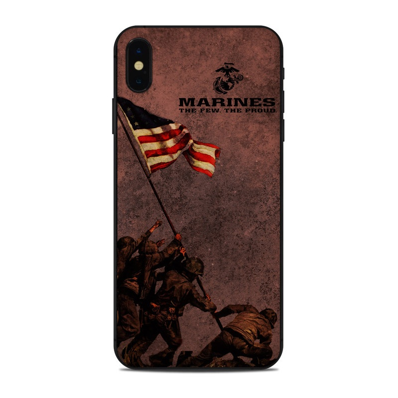 iPhone XS Max Skin design of Flag, Font, Red flag, Veterans day, Illustration with black, red colors