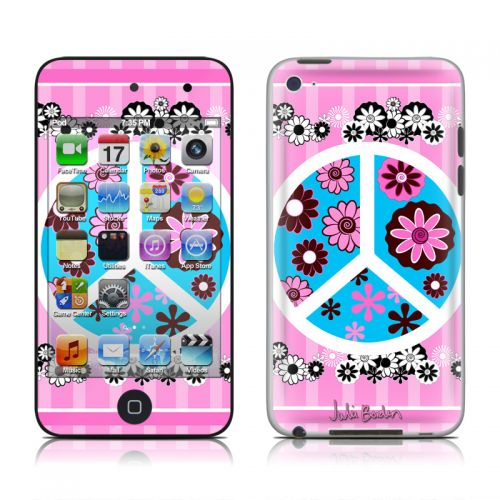 Peace Flowers Pink iPod touch 4th Gen Skin