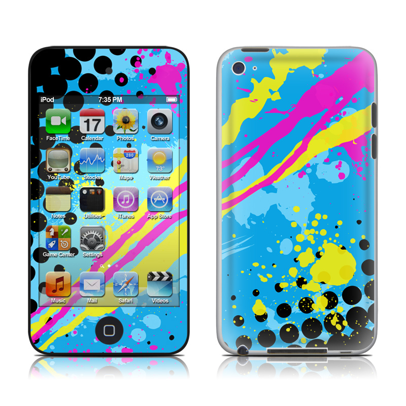 iPod touch 4th Gen Skin design of Blue, Colorfulness, Graphic design, Pattern, Water, Line, Design, Graphics, Illustration, Visual arts with blue, black, yellow, pink colors