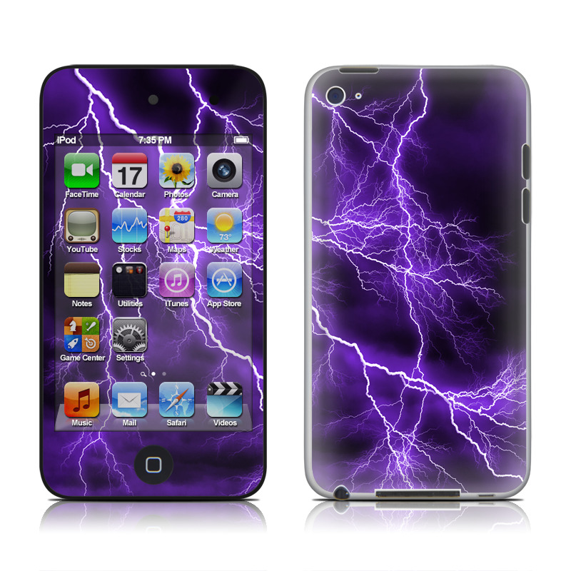 iPod touch 4th Gen Skin design of Thunder, Lightning, Thunderstorm, Sky, Nature, Purple, Violet, Atmosphere, Storm, Electric blue with purple, black, white colors