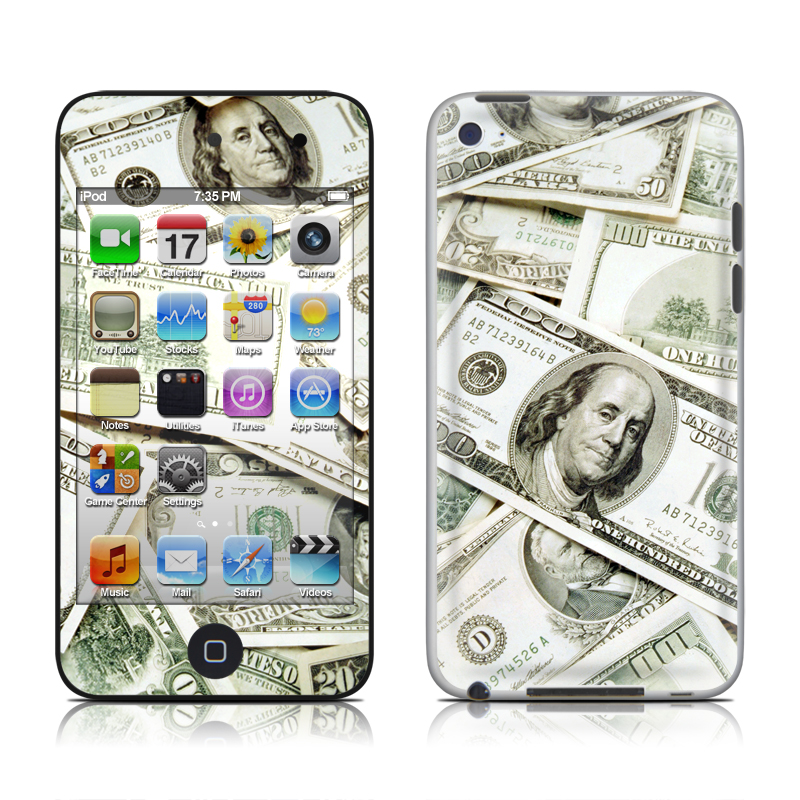 iPod touch 4th Gen Skin design of Money, Cash, Currency, Banknote, Dollar, Saving, Money handling, Paper, Stock photography, Paper product with green, white, black, gray colors