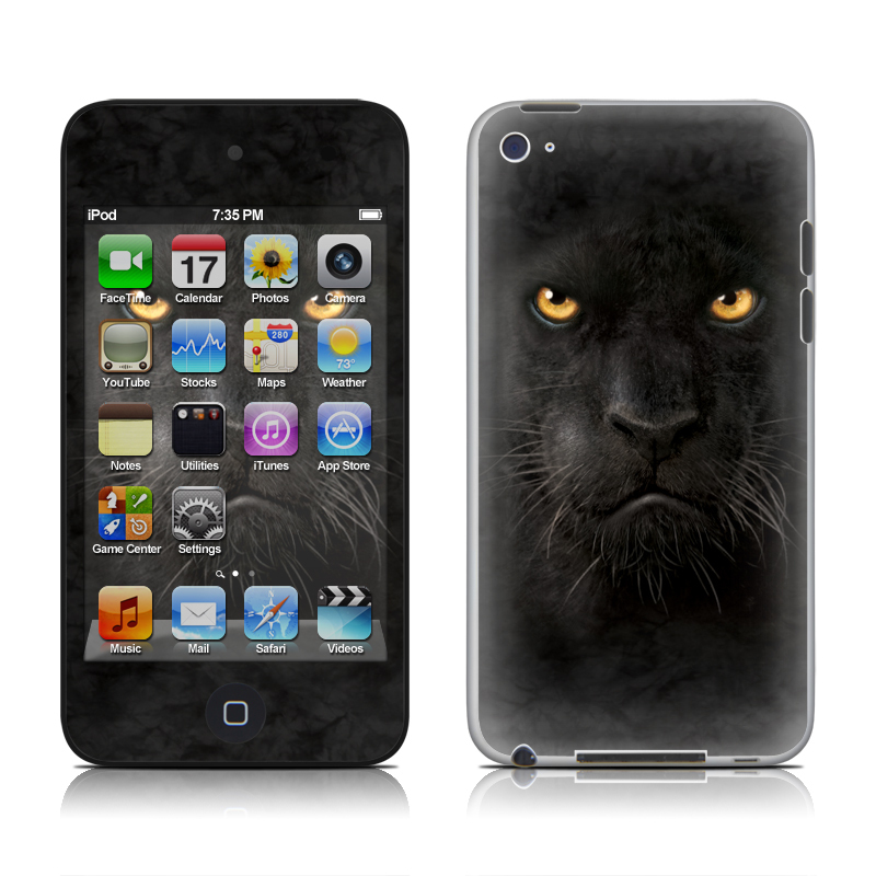 iPod touch 4th Gen Skin design of Mammal, Vertebrate, Cat, Felidae, Black cat, Small to medium-sized cats, Whiskers, Carnivore, Snout, Eye with black, orange, yellow colors