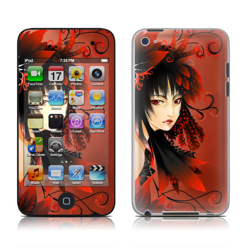 Black Flower iPod touch 4th Gen Skin