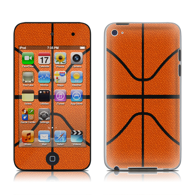iPod touch 4th Gen Skin design of Orange, Basketball, Line, Pattern, Sport venue, Brown, Yellow, Design, Net, Team sport with orange, black colors