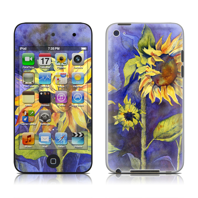iPod touch 4th Gen Skin design of Flower, Sunflower, Painting, sunflower, Watercolor paint, Plant, Flowering plant, Yellow, Acrylic paint, Still life with green, black, blue, gray, red, orange colors