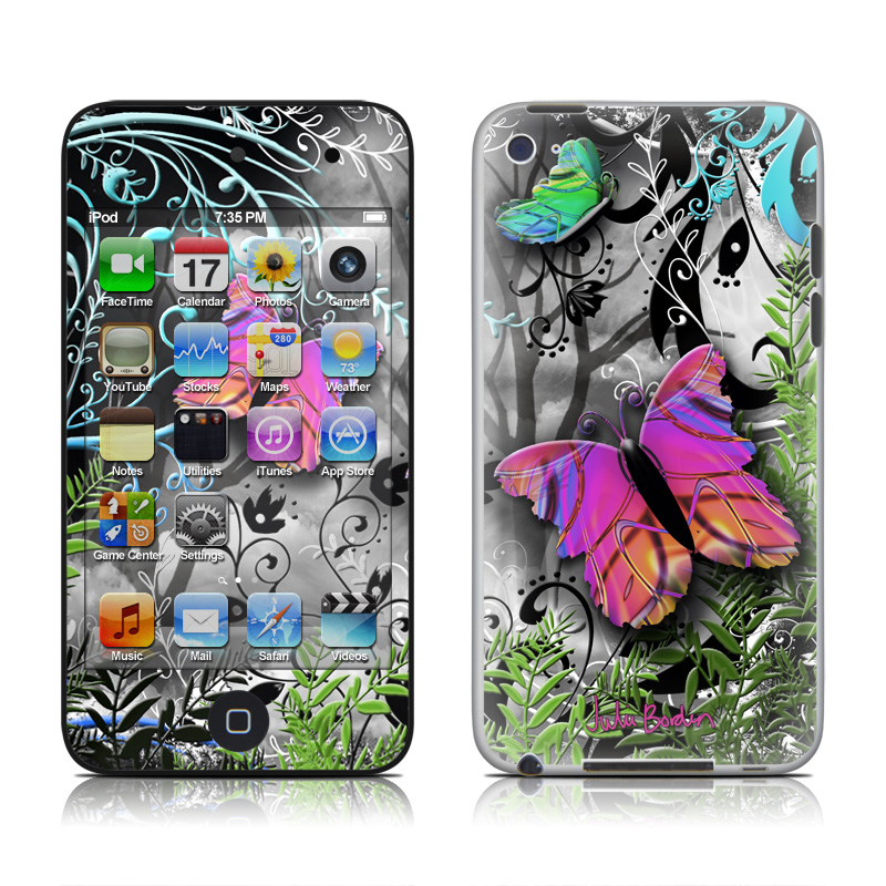 iPod touch 4th Gen Skin design of Butterfly, Pink, Purple, Violet, Organism, Spring, Moths and butterflies, Botany, Plant, Leaf with black, gray, green, purple, red colors