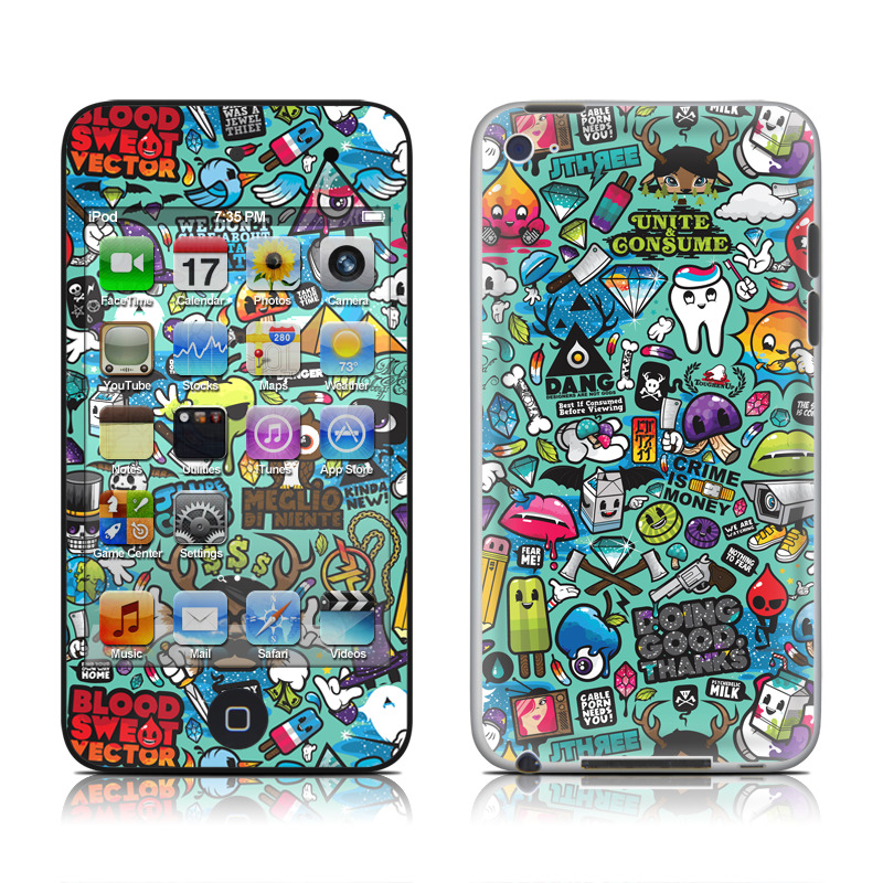 iPod touch 4th Gen Skin design of Cartoon, Art, Pattern, Design, Illustration, Visual arts, Doodle, Psychedelic art with black, blue, gray, red, green colors