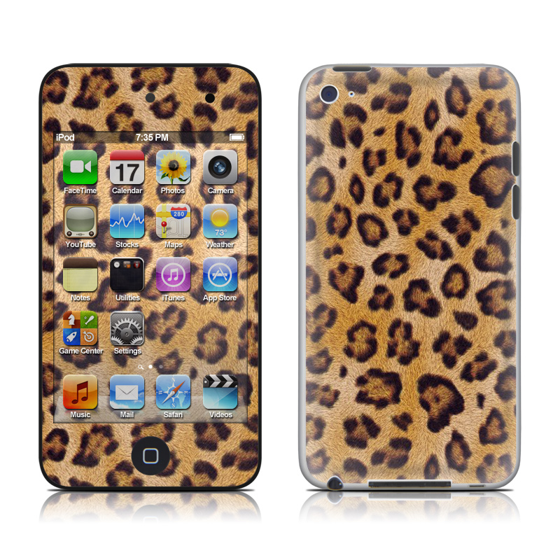 iPod touch 4th Gen Skin design of Pattern, Felidae, Fur, Brown, Design, Terrestrial animal, Close-up, Big cats, African leopard, Organism with orange, black colors