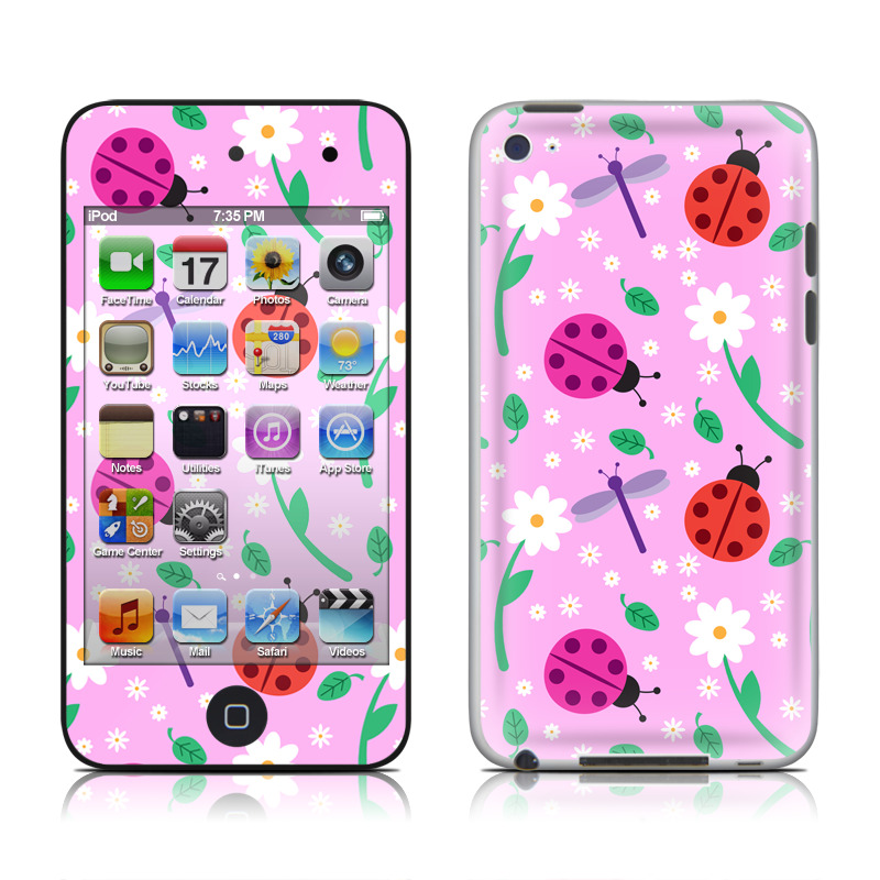 iPod touch 4th Gen Skin design of Pink, Pattern, Design, Magenta, Clip art, Plant, Visual arts, Ladybug, Child art, Illustration with pink, white, purple, gray, red, blue colors