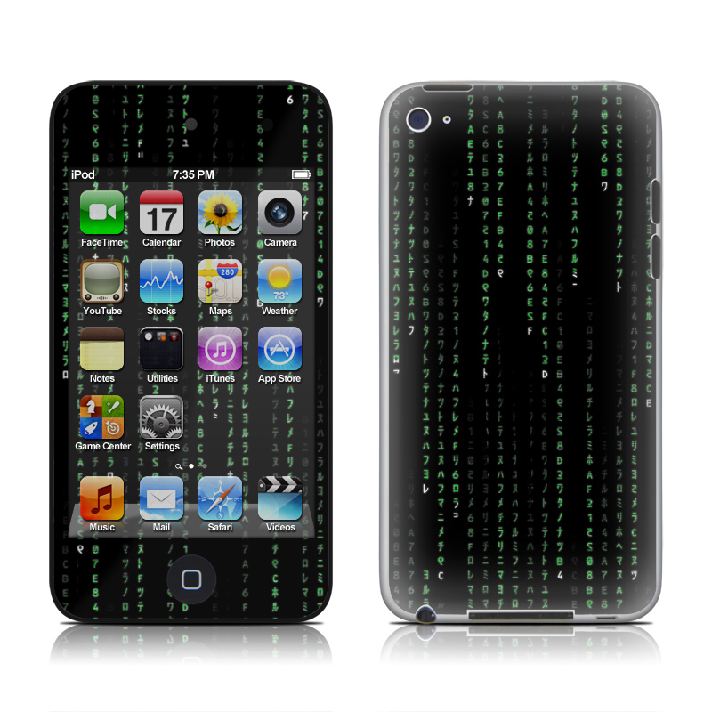 iPod touch 4th Gen Skin design of Green, Black, Pattern, Symmetry with black colors