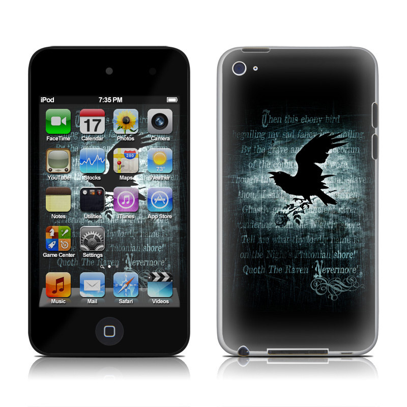 iPod touch 4th Gen Skin design of Bird, Text, Wing, Graphic design, Darkness, Font, Illustration, Graphics with black, white, blue colors