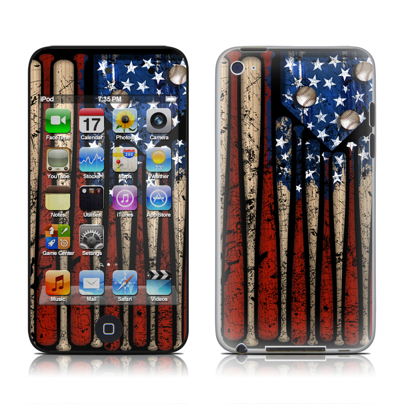 iPod touch 4th Gen Skin design of Baseball bat, Baseball equipment with black, red, gray, green, blue colors