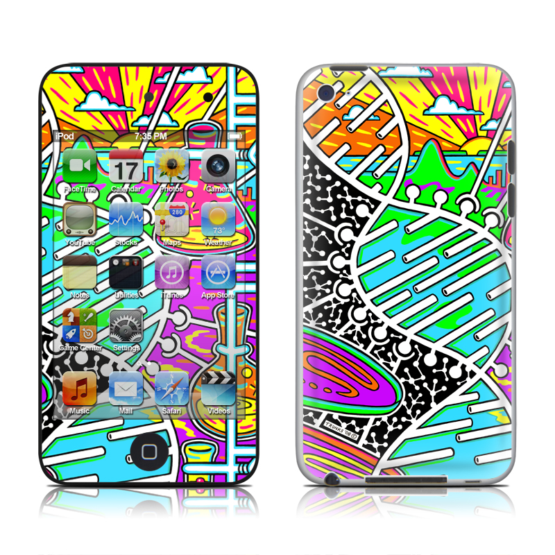 iPod touch 4th Gen Skin design of Visual arts, Psychedelic art, Pattern, Design, Art with black, gray, white, blue, red colors