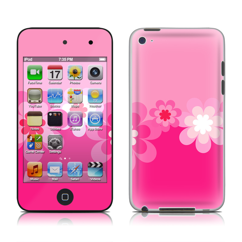 Retro Pink Flowers iPod touch 4th Gen Skin