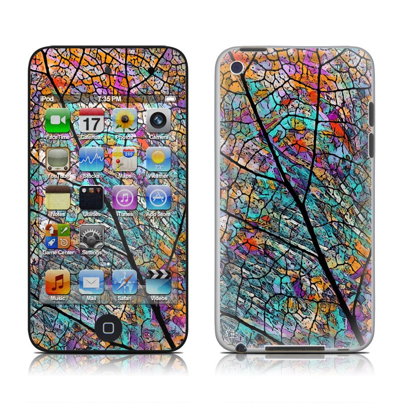 iPod touch 4th Gen Skin design of Pattern, Colorfulness, Line, Branch, Tree, Leaf, Design, Visual arts, Glass, Plant with black, gray, red, blue, green colors