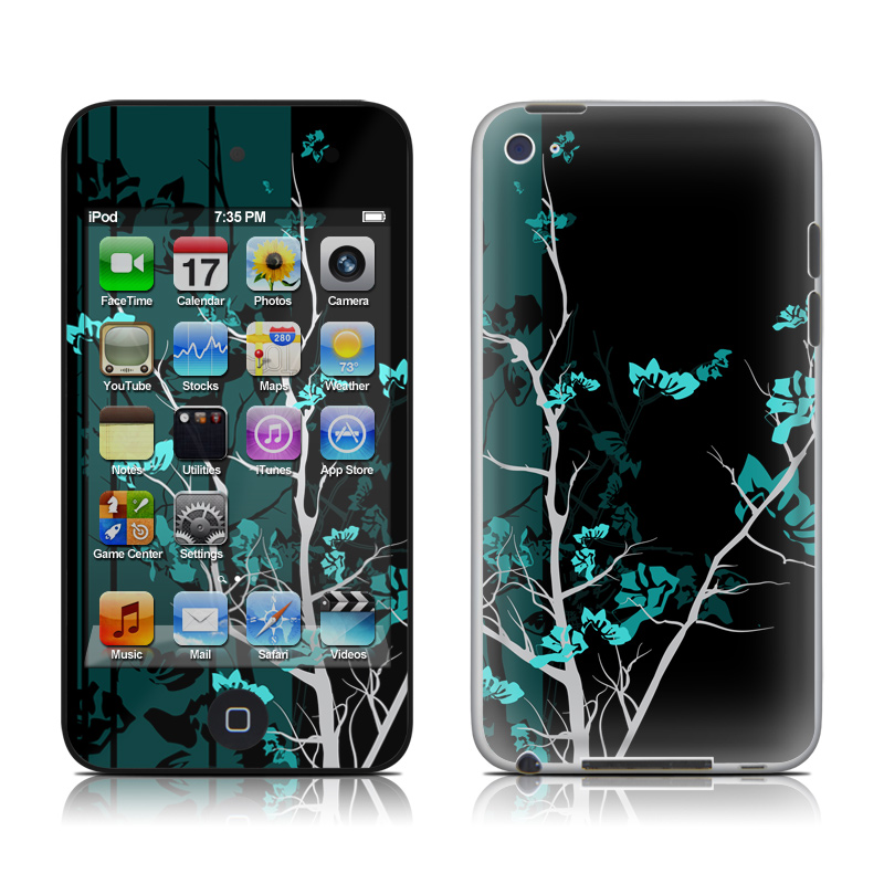iPod touch 4th Gen Skin design of Branch, Black, Blue, Green, Turquoise, Teal, Tree, Plant, Graphic design, Twig with black, blue, gray colors