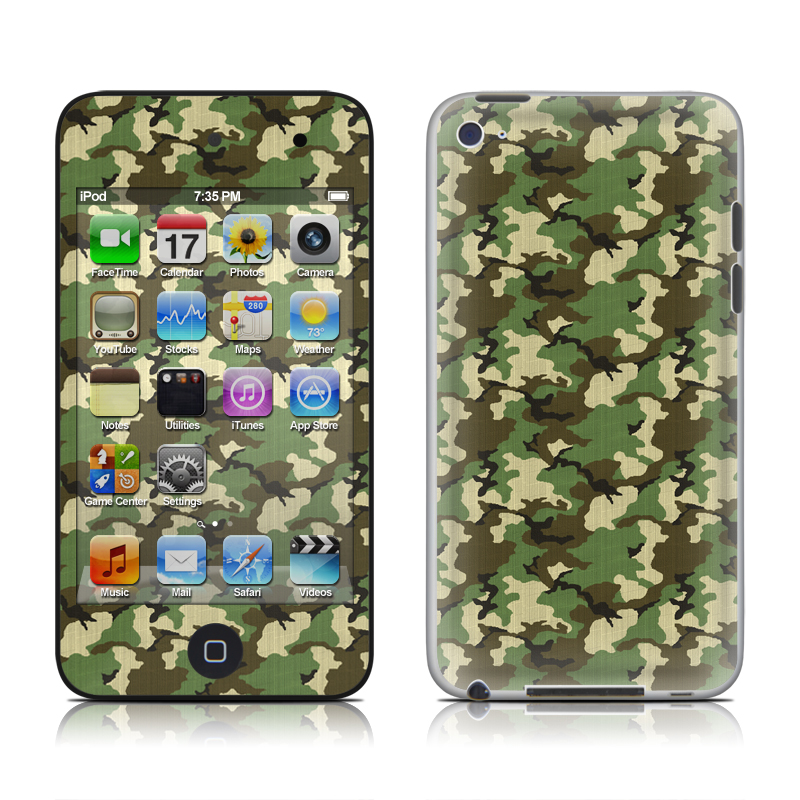 iPod touch 4th Gen Skin design of Military camouflage, Camouflage, Clothing, Pattern, Green, Uniform, Military uniform, Design, Sportswear, Plane with black, gray, green colors