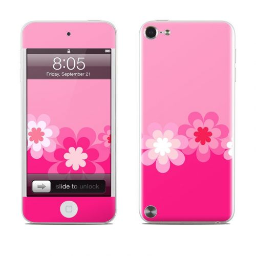 Retro Pink Flowers iPod touch 5th Gen Skin