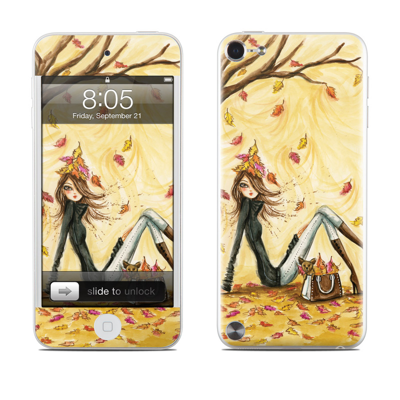 iPod touch 5th Gen Skin design of Painting, Watercolor paint, Tree, Art, Illustration, Plant, Modern art, Visual arts, Still life, Fictional character with yellow, red, brown, orange, black, white colors