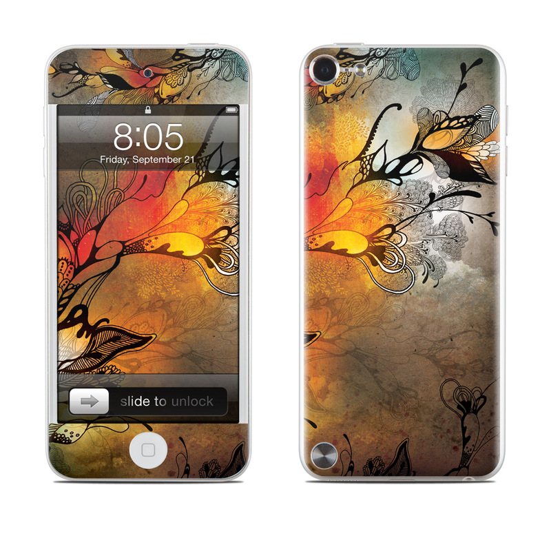iPod touch 5th Gen Skin design of Yellow, Orange, Art, Branch, Leaf, Graphic design, Visual arts, Pattern, Design, Modern art with black, red, orange, yellow colors