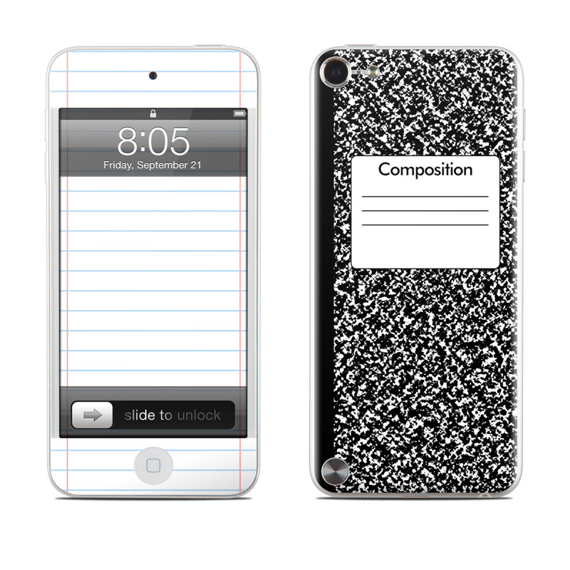 iPod touch 5th Gen Skin design of Text, Font, Line, Pattern, Black-and-white, Illustration with black, gray, white colors