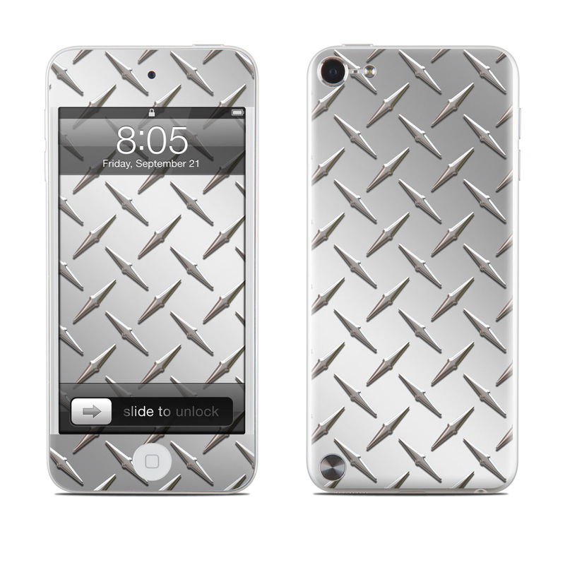 iPod touch 5th Gen Skin design of Pattern, Metal, Line, Design, Steel, Parallel, Tile, Beige, Flooring with gray colors
