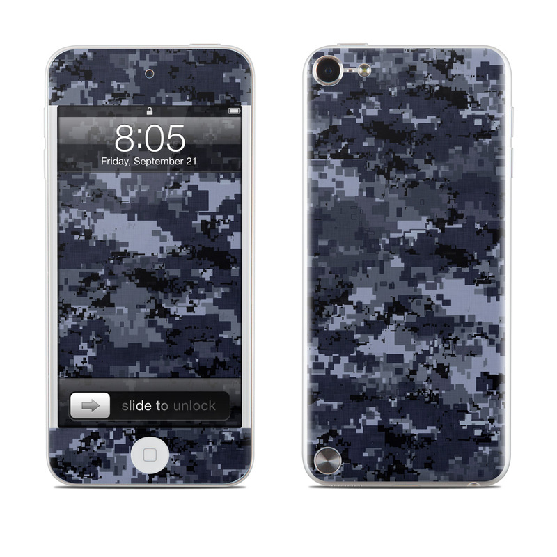 iPod touch 5th Gen Skin design of Military camouflage, Black, Pattern, Blue, Camouflage, Design, Uniform, Textile, Black-and-white, Space with black, gray, blue colors