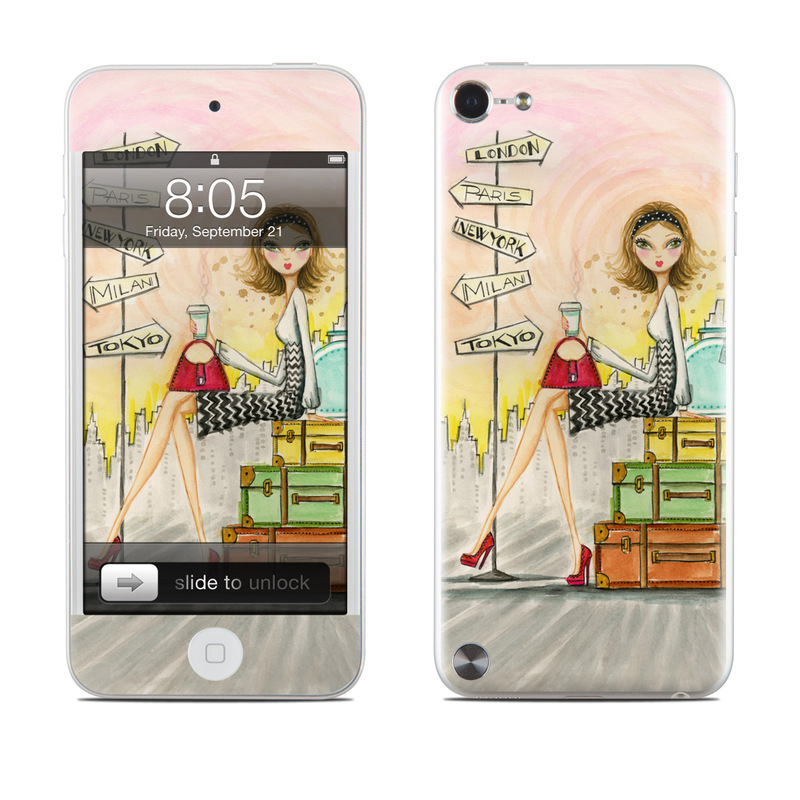 iPod touch 5th Gen Skin design of Cartoon, Illustration, Art, Watercolor paint with gray, pink, green, red, black colors