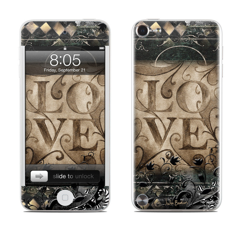 iPod touch 5th Gen Skin design of Pattern, Brown, Design, Textile, Art with black, gray, green, red colors
