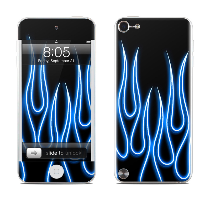 Blue Neon Flames iPod touch 5th Gen Skin