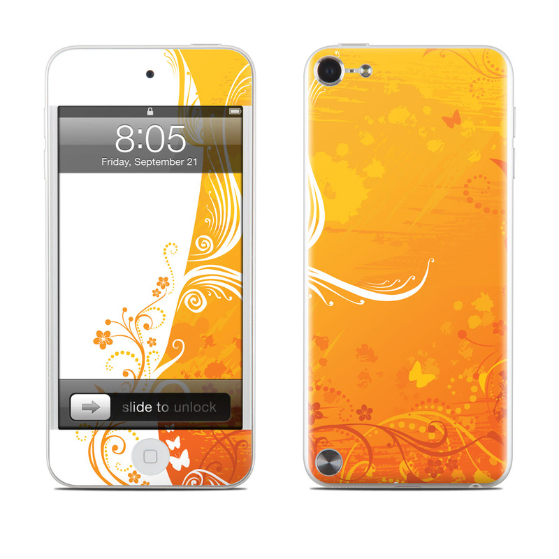 iPod touch 5th Gen Skin design of Orange, Yellow, Pattern, Amber, Design, Ornament, Floral design, Graphics, Graphic design, Visual arts with orange, white, red, pink, yellow colors