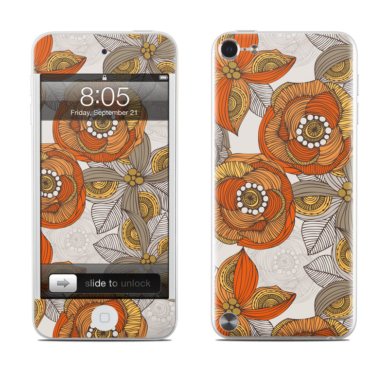 Orange and Grey Flowers iPod touch 5th Gen Skin