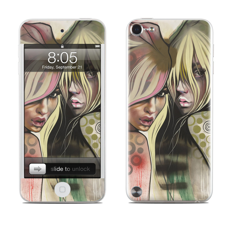 iPod touch 5th Gen Skin design of Face, Illustration, Cg artwork, Anime, Cool, Art, Mouth, Fictional character, Fiction, Drawing with black, gray, green, red colors