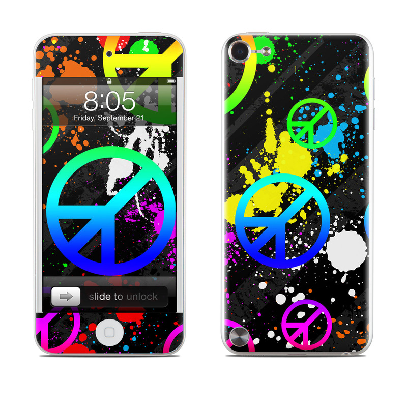 iPod touch 5th Gen Skin design of Graphic design, Font, Purple, Pattern, Design, Circle, Graphics, Neon, Symbol, Peace symbols with black, gray, green, blue, red colors
