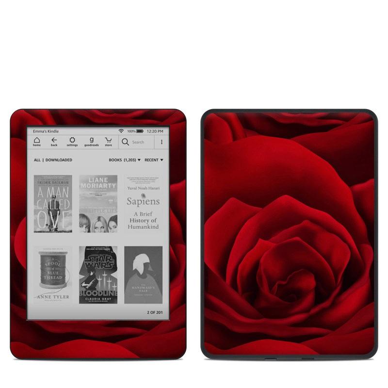 Amazon Kindle 10th Gen Skin design of Red, Garden roses, Rose, Petal, Flower, Nature, Floribunda, Rose family, Close-up, Plant with black, red colors