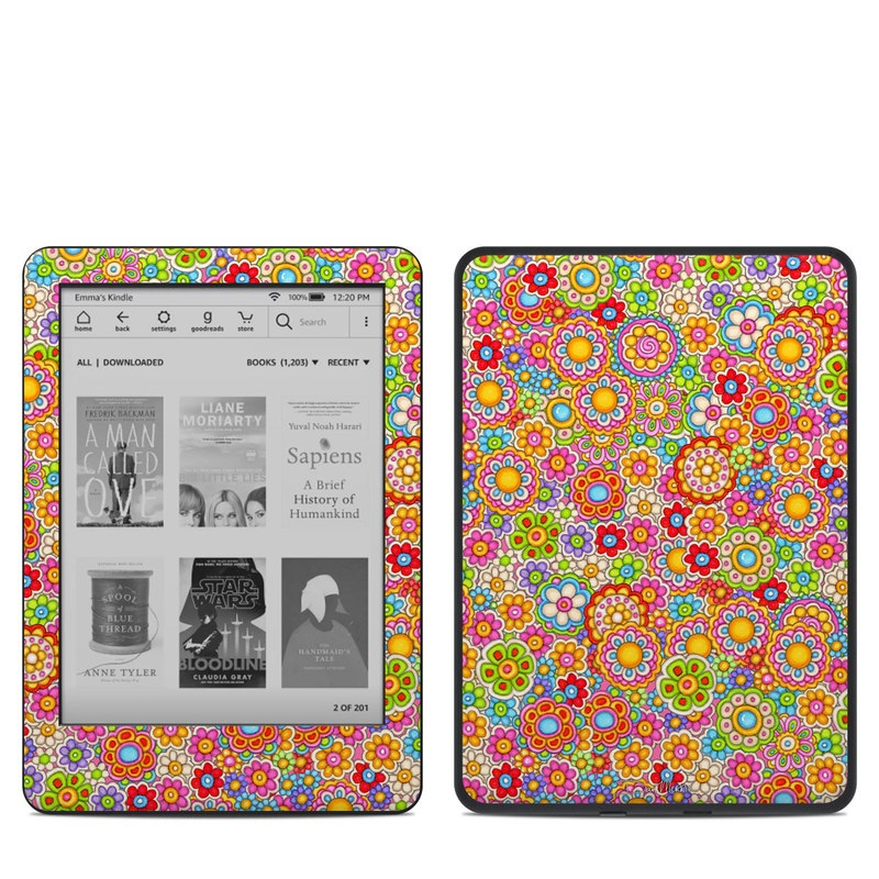 Amazon Kindle 10th Gen Skin design of Pattern, Design, Textile, Visual arts with pink, red, orange, yellow, green, blue, purple colors