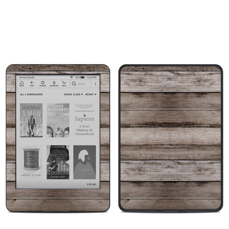 Amazon Kindle 10th Gen Skin design of Wood, Plank, Wood stain, Hardwood, Line, Pattern, Floor, Lumber, Wood flooring, Plywood with brown, black colors