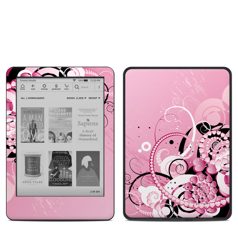Amazon Kindle 10th Gen Skin design of Pink, Floral design, Graphic design, Text, Design, Flower Arranging, Pattern, Illustration, Flower, Floristry with pink, gray, black, white, purple, red colors