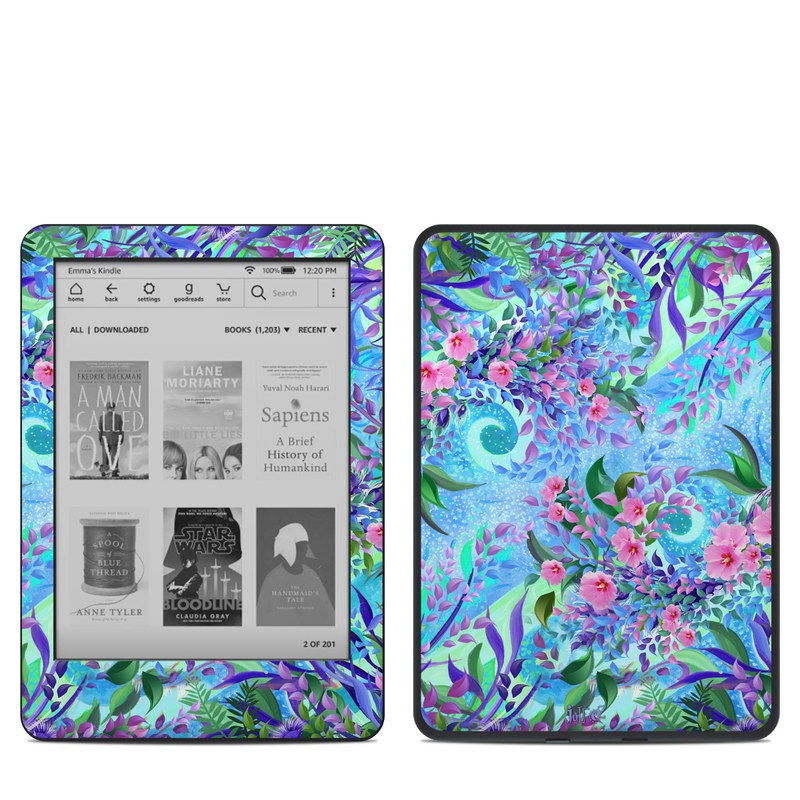 Amazon Kindle 10th Gen Skin design of Psychedelic art, Pattern, Lilac, Purple, Art, Pink, Design, Fractal art, Visual arts, Organism with gray, blue, purple colors