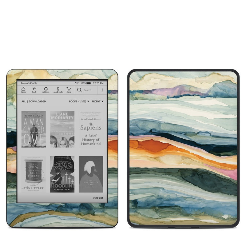 Amazon Kindle 10th Gen Skin design of Watercolor paint, Painting, Sky, Wave, Geology, Landscape, Pattern, Acrylic paint, Cloud, Paint with blue, purple, orange, yellow, red, green, brown colors