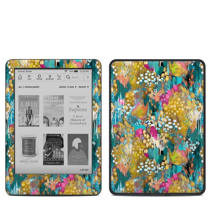 Amazon Kindle 10th Gen Skin design of Pattern, Textile, Design, Art, Visual arts, Wildflower with green, gray, blue, black, red colors