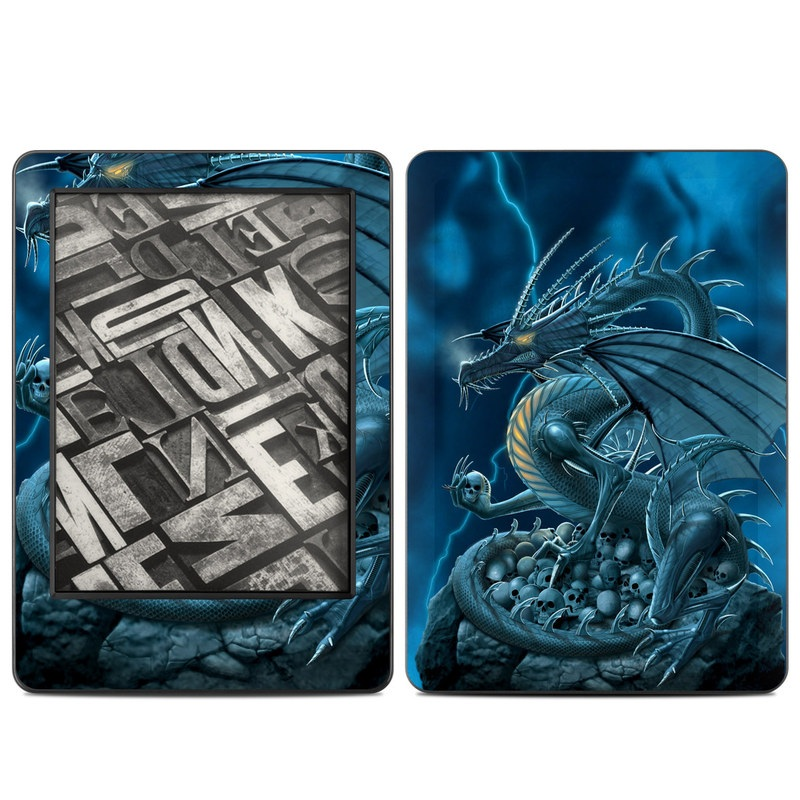 Amazon Kindle 7th Gen Skin design of Cg artwork, Dragon, Mythology, Fictional character, Illustration, Mythical creature, Art, Demon with blue, yellow colors