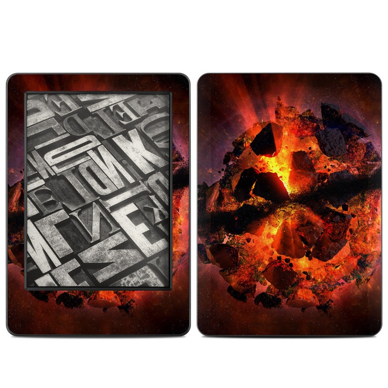 Amazon Kindle 7th Gen Skin design of Flame, Heat, Fire, Space, Atmosphere, Charcoal, Explosion, Geological phenomenon, Ash, Graphics with black, red colors